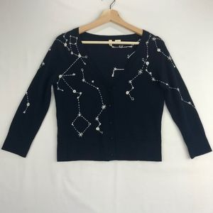 Moth Navy Blue Wool Embroidered Cardigan Sweater S